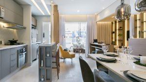 Exemplo de living decorado no Residencial Bliss (imagem ilustrativa)