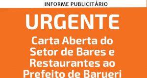 Em carta aberta, SinHoRes Osasco – Alphaville & Região lamenta discurso sobre o funcionamento de bares realizado pelo prefeito de Barueri, Rubens Furlan, durante uma transmissão ao vivo no último sábado, 21/3, em rede social da prefeitura.