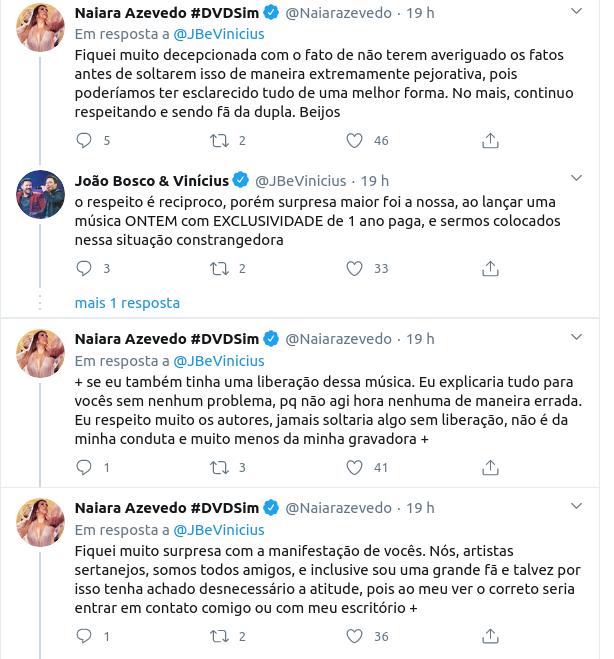 """""""Guerra"""" de sertanejos: Naiara Azevedo lança a mesma música que João Bosco & Vinícius um dia depois e revolta dupla"""