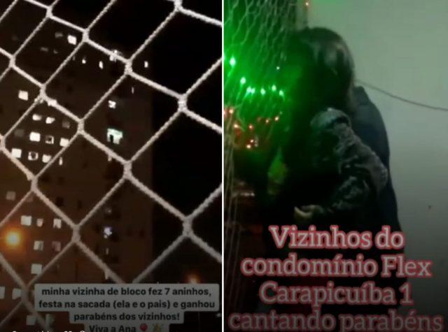 Vizinhos surpreendem criança que fez 7 anos com parabéns coletivo da sacada dos apartamentos em Carapicuíba
