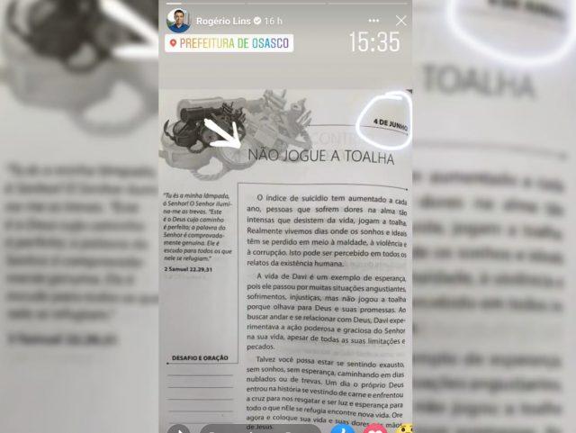 Prefeito de Osasco posta mensagem conta suicídio