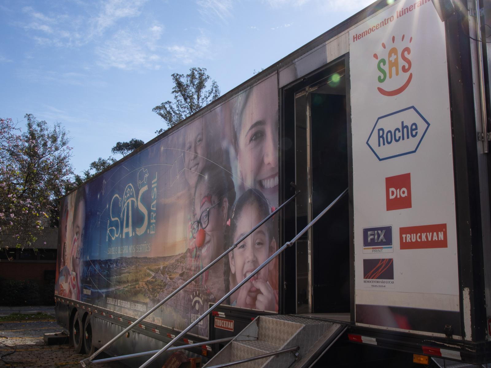 Carreta itinerante doação de sangue Osasco